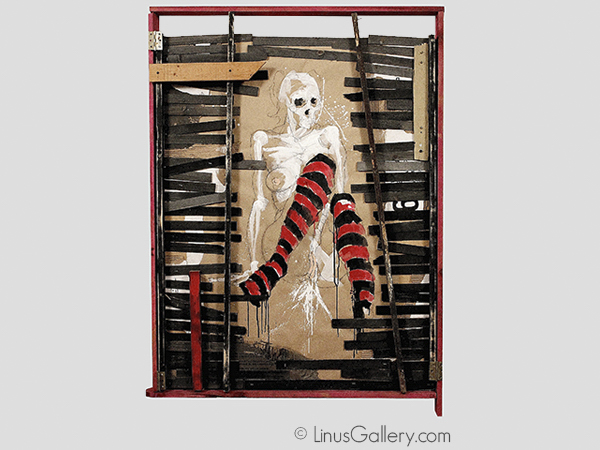 bizarre pasadena art gallery The Weird Show Artist Oj Hansen | Black and Red Striped Stockings