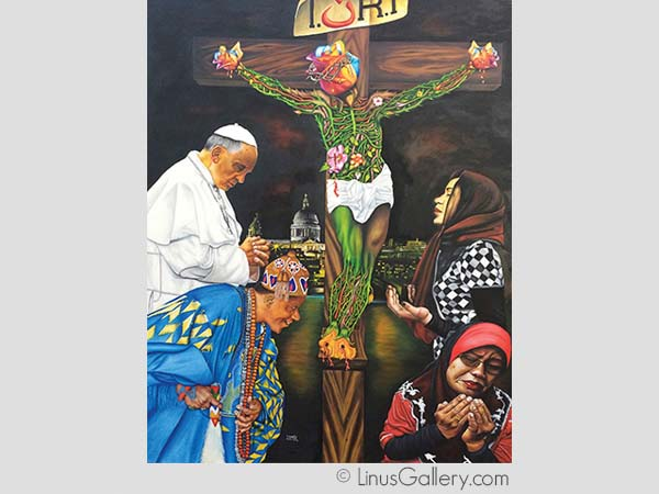contorversial online art contests Political Commentary Artist O Yemi Tubi | The Bleeding Roses | Oil Painting