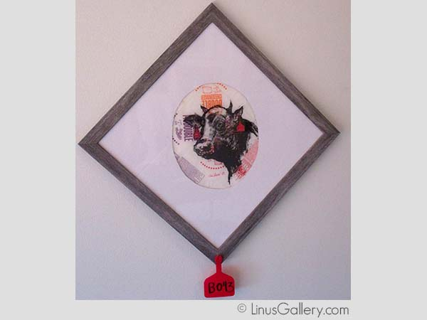 cuisine art galleries southern california Bon Appétit Artist Aaron Morgan | In Loving Memory Steer | Mixed Media